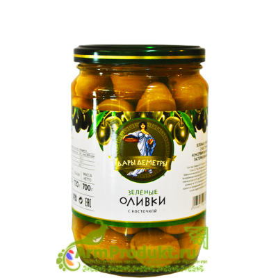 """Оливки с Косточкой в Рассоле """"Дары Деметры"""" 700 гр."""